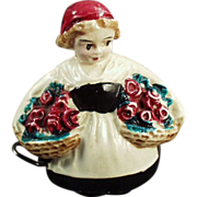 Old Tape Measure - Celluloid Girl with Baskets of Flowers