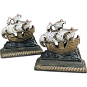 Old, Cast Iron, Masted Sailing Ship Bookends