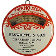 Old, Advertising Thermometer, Celluloid - Elsworth Department Store of New York