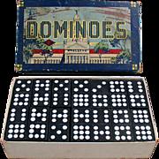 Set of Old Dominoes with Original Box - Hal-San #930 - U.S. Capitol Building