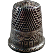 Old, Sterling Silver Thimble with House & Hillside