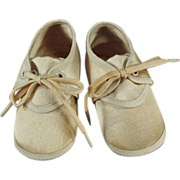 Old, Mrs. Day's Ideal Baby Shoes - Cream Satin, Newborn Size
