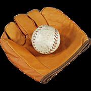Child's, Old Jr. Flash Baseball Mitt and Cork Ball