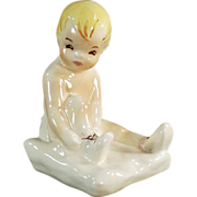 Old, Toddler Figurine - Putting on Shoes - Dadson Art Ware Pottery