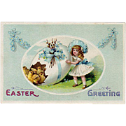 Old, Easter Postcard with Little Girl, Decorated Egg & Baby Chicks