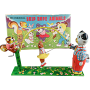 Old, T.P.S. Wind-up Toy - Skip Rope Animals with Original Box