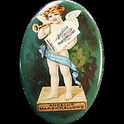 Old, Celluloid Pocket Mirror -  Angelus Marshmallows - Colorful Cherub