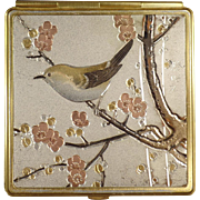 Old Compact Decorated in the Art of Chokin Bird Design