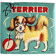 Old Toy Box for a Wind-up, Plush Terrier