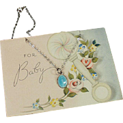 Old, Baby Gift Card with Small, Religious Medal Necklace - Sterling & Enamel