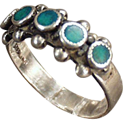 Old, Sterling Silver and Turquoise Ring
