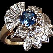 Ladies, Vintage Cocktail Ring - 14k, Yellow & White Gold, Blue Topaz and Diamonds