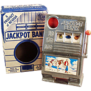 Old, Jackpot Slot Machine, Toy Bank with Original Box