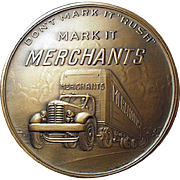 Old, Bronze Paperweight Medallion - Merchant Trucking