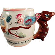 """Child's, Old Milk Cup """"Whistle for Your Milk"""" with Deer Handle"""