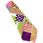 Men's Vintage Necktie - Wide and Vividly Colored - Hand Made & Labeled