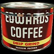 Old, Edwards Coffee Tin - Half Pound Size, Key Wind