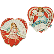 SOLD Old Valentines - Hearts with Sweet Girls - Two (2)