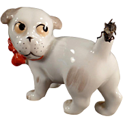 Old, German Porcelain Novelty - Little Dog with Fly on Tail