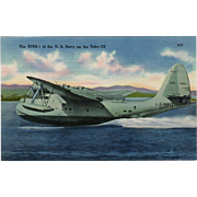 Vintage Postcard with a XPBS-1 Naval Plane