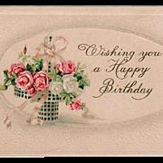 Vintage, Birthday Postcard - Pretty Basket of Roses