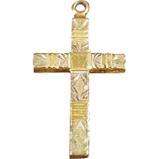 Old, Gold Filled, Cross Pendant with Etched Design