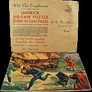 Old, Advertising Puzzle Premium - Fun & Colorful Limerick