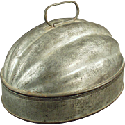 Old, Pudding Mold - Melon Shaped, Tin Mold - 2 Quart Capacity