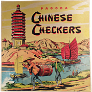 Old, Pagoda, Chinese Checkers Game with All Original Game Pieces & Box