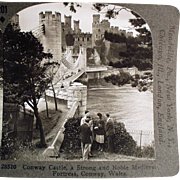 Old Stereoscopic Card - Beautiful, Conway Castle in Wales #201