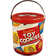 """Old """"Sunshine"""" Toy Cookies Pail with Great Cookie Graphics"""