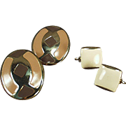 Old Costume Jewelry Earrings - Clip-on Style in Brown Tones - 2 Pair