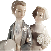 "Old, Lladro #4808 ""Wedding"" Bride & Groom Figurine"