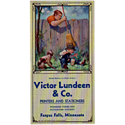 Old Souvenir, Advertising Ink Blotter - Victor Lundeen - Humorous Smoking Scene
