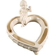 Old, Heart Shaped Flower or Posey Ring with Cherub