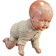 Old, Crawling Baby Doll - Celluloid Wind Up Toy