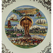 Vintage Souvenir Plate of Oklahoma with Will Rogers and Noted Landmarks