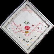 Vintage Hankie Set with Embroidered Flowers - Original Packaging