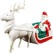 Vintage, Celluloid, Santa Claus and Reindeer Figure