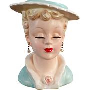 Vintage Head Vase - Lovely Lady, Extended Lashes - Ucagco Label