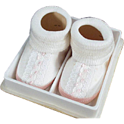 Vintage Baby Shoes - White, Pink & Lace Trim - Very Cute