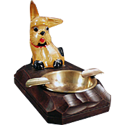 Vintage, Figural Ashtray with Carved Wood Dog