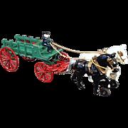 Vintage, Kenton Cast Iron, Horse Drawn Wagon