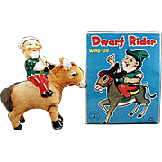 Vintage Wind Up Toy - Dwarf on Donkey with Original Box
