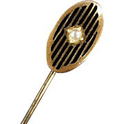 Vintage Stickpin with Faux Pearl and Enamel Stripes