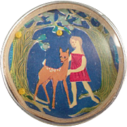 Old Dexterity Puzzle with Mirror Back - Girl with Deer