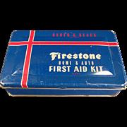 Vintage, Firestone, Home & Auto, First Aid Kit Tin
