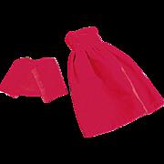 Vintage, 2 Piece Dress for Tammy & Other Similar Dolls - Red Velveteen