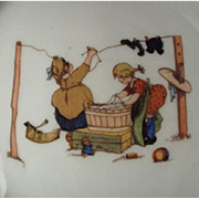Vintage, Bavarian, Baby Plate with Children Doing Laundry