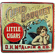 Vintage Tobacco Tin - Cupid Bouquet Little Cigars - Nice Graphics